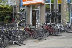 Uthyrnings- lager för cykel Fotografering för Bildbyråer