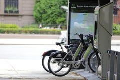 Uthyrnings- station för Boston Hubway cykel Royaltyfri Foto