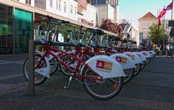 Uthyrnings- zon för cykel i den historiska delen av Antwerp solig dagfjäder Fotografering för Bildbyråer