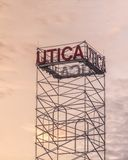 Utica City Tower Sign royalty free stock images