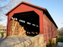 Free Utica Mills Red Bridge Stock Photography - 2219652