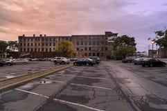UTICA NY, USA - OKTOBER 02 2018: Doyle Hardware Building är en historisk fabriksbyggnad som byggs mellan 1881 och 1901 ett arbete arkivfoto
