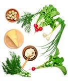 Utile pour des légumes de nourritures biologiques, oeufs de caille, crème Photos stock