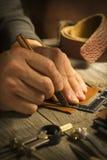 Utilidade de couro feito a mão - imagem conservada em estoque Fotografia de Stock