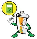 Utilisé peut le caractère réutiliser la bande dessinée d'environnement de poubelle Photos stock