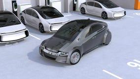 Utilisant le téléphone intelligent APP à garer une voiture autonome illustration de vecteur