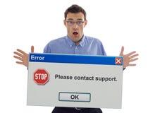 Utilisateur choqué d'ordinateur Photographie stock libre de droits