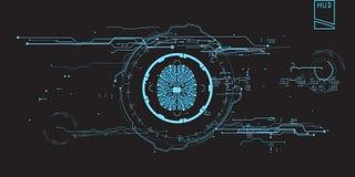 Utilisateur graphique virtuel futuriste de contact de concept d'interface de HUD Images libres de droits