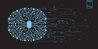 Utilisateur graphique virtuel futuriste de contact de concept de cerveau Photos stock