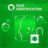 Utilisateur obtenant Access après l'identification de visage balayant la technologie moderne du concept de reconnaissance de Biom Image libre de droits