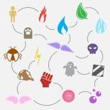 Utilisation de dix-sept éléments dans le jeu Illustration de Vecteur