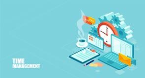 Utilisation efficace de worktime pour l'exécution du plan d'action Vecteur d'une vue supérieure du lieu de travail illustration de vecteur