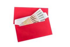 Utilisation rouge d'enveloppe dans le festival chinois de nouvelle année sur le blanc Photo stock