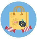 Utilisation spéciale d'icône d'illustration de Halloween Tote Bag Isolated Color pour Halloween illustration libre de droits