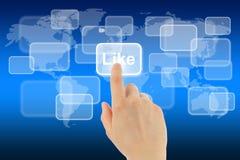 Utilisations de main de femme comme le bouton Image stock