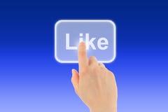 Utilisations de main de femme comme le bouton Photographie stock libre de droits