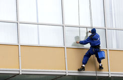 Utilitary alpinist windows cleaner Royalty Free Stock Photography