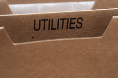 Utilities. Section tab in folding file Royalty Free Stock Photography