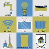 Utilities household services icon set modern Royalty Free Stock Photography