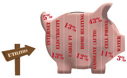 Utilities piggy bank Royalty Free Stock Images