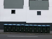 Utilities: recycling bins on street Stock Images