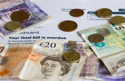 Utility Bill and Sterling Currency Stock Photography