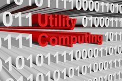 Utility computing. In the form of binary code, 3D illustration Stock Images
