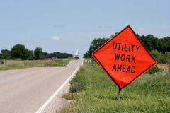 Utility construction ahead Stock Images