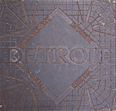 Utility Cover in Detroit. Almost `sidewalk art` in downtown Detroit Royalty Free Stock Photos