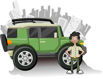Utility green vehicle. Man and utility vehicle with city on background Stock Photography