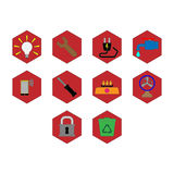Utility icon set. Collection of flat color utility icon vector Royalty Free Stock Photos