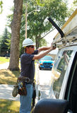 Utility man. A utility man getting ready to troubleshoot a cable installation job that didn't work out right the first time Royalty Free Stock Photos
