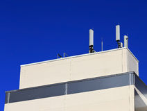 Utility plugin. Technical support unit with equipment of mobile communication of a industrial building Stock Image