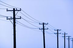 Utility Pole. S with the clear blue sky Royalty Free Stock Image