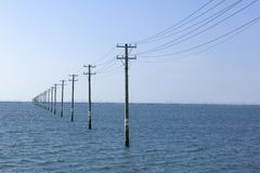 Utility Pole. S with the beautiful sea Stock Photo