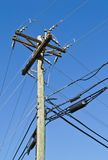 Utility Pole. Supporting both electrical wires and telephone cables near Scientist's Cliffs, Maryland USA stock photo