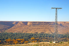 Utility pole in africa morocco energy and distribution pylon Royalty Free Stock Photos
