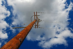 Utility pole on blue sky Royalty Free Stock Photography