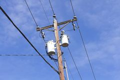 Utility pole & distribution transformer Royalty Free Stock Image
