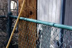 Utility Pole, Fence and Equipment in a Backyard royalty free stock images