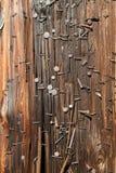 Utility Pole nails vertical Stock Photos