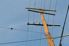 Utility pole with wires Royalty Free Stock Photography