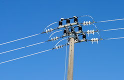 Free Utility Pole With Electric Frozen Wires Stock Image - 46713641