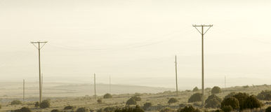 Utility poles. In a barren landscape Stock Images
