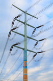 Utility poles. Supporting wires for various public utilities stock photography