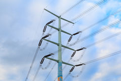 Utility poles. Supporting wires for various public utilities stock images