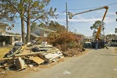Utility repairs to suburban homes Royalty Free Stock Photos