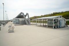 Utility room on the pier Sarafovo in Bourgas, Bulgaria Royalty Free Stock Image