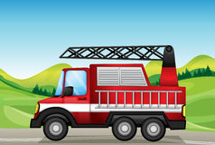 The utility truck at the road near the hills. Illustration of the utility truck at the road near the hills Stock Photos