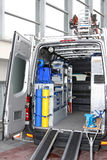 Utility van. Rear view of utility service van vehicle Stock Images